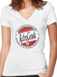 Retro Grade, classic motor oil Women's Fitted V-Neck T-Shirt