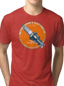 Retro John's Electrical auto and motorcycle spark plugs Tri-blend T-Shirt
