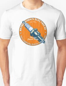 Retro John's Electrical auto and motorcycle spark plugs Unisex T-Shirt