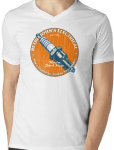 Retro John's Electrical auto and motorcycle spark plugs Mens V-Neck T-Shirt