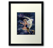 Firefly Moon - Fairy Sitting on Moon Framed Print