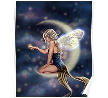 Firefly Moon - Fairy Sitting on Moon Poster