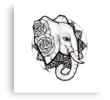 Mandala dot work elephant Canvas Print