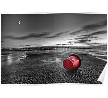 Ryde Sands at Night bw Poster