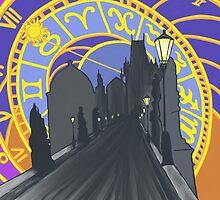 Prague Astronomical Clock bridge abstract by alisacz
