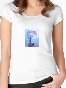 Wolf Silhouette Howling Women's Fitted Scoop T-Shirt