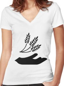 Outstretched Hand and Wheat Women's Fitted V-Neck T-Shirt