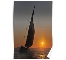 sailboat against to sunrise Poster