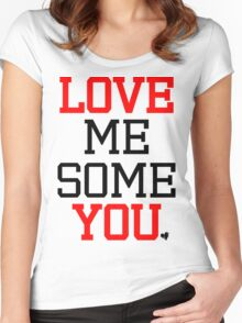 Love Me Some You [Red Black] Women's Fitted Scoop T-Shirt