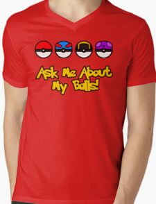 Ask Me About My Balls! Mens V-Neck T-Shirt