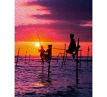 Traditional Fisherman in Sri Lanka Photographic Print
