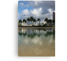 Tropical Vacation - Swaying palms and Crystal Clear Water Canvas Print