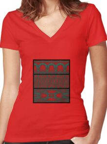 Sodenay Wall Motifs Women's Fitted V-Neck T-Shirt