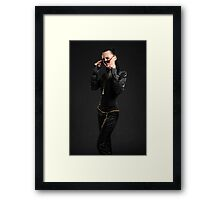 Black catsuit Framed Print