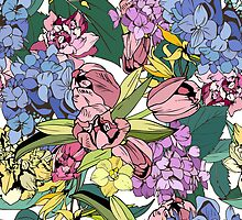 Bright spring pattern with tulips and hydrangea by Julia Hromova