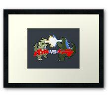 Tyranitar VS Godzilla Framed Print