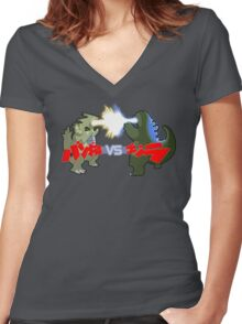 Tyranitar VS Godzilla Women's Fitted V-Neck T-Shirt