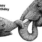 African Elephant & Calf Birthday Card by Lorna Mulligan