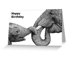 African Elephant & Calf Birthday Card Greeting Card