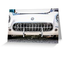 White 50s Chevy Corvette Grill Greeting Card