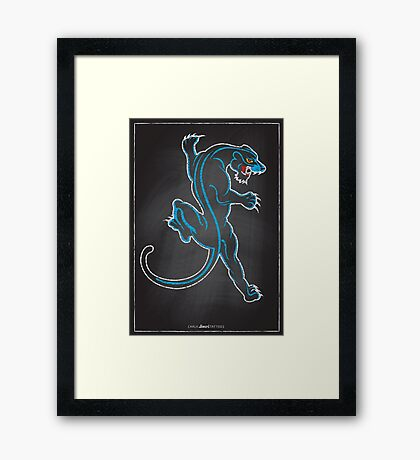 Chalk Board Tattoos - Panther Framed Print