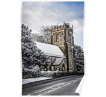 Snow covered Church Poster