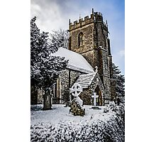 Snow covered rural church in Dorset Photographic Print