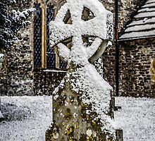 Snow covered Saxon Gravestone by Chris L Smith