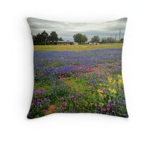 Blue Bonnets and Wildflowers on a Texas Ranch near Austin 2014.04 Throw Pillow