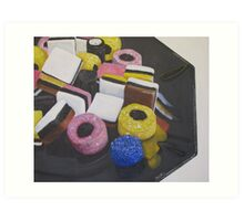 Liquorice Allsorts On Black Dish Art Print