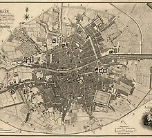 Antique Map of Dublin, Ireland from 1797 by bluemonocle