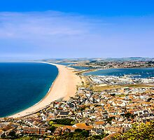Chesil Beach Aerial Panorama by Chris L Smith