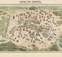 Antique Map of Paris, France from c1860 by bluemonocle