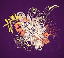 Graphic composition composed of tulips and narcissus by Julia Hromova