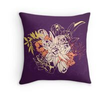 Graphic composition composed of tulips and narcissus Throw Pillow