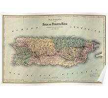 Antique Map of Puerto Rico from 1886 Poster