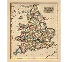 Antique Map of England and Wales from c1817 Photographic Print