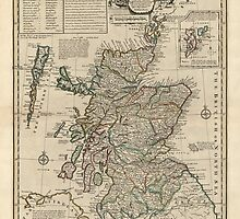 Antique Map of Scotland from 1752 by bluemonocle