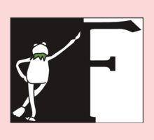 F is for Frog Black and White. Baby Tee