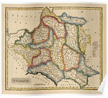 Antique Map of Poland from c1817 Poster