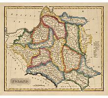 Antique Map of Poland from c1817 Photographic Print