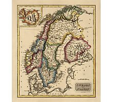 Antique Map of Norway, Sweden, and Finland from c1817 Photographic Print