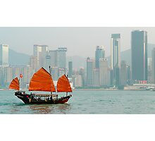 Hong Kong Junk Boat Photographic Print