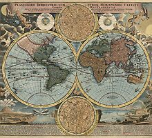 Antique Map of the World from c1716 by bluemonocle
