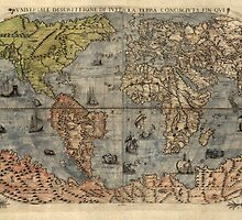 Antique Map of the World from 1565 by bluemonocle