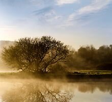 Misty River Sunrise Landscape by Christina Rollo