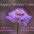 Purple Flower Mother Day's Card by hummingbirds