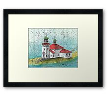 Russian Orthodox Church Unalaska AK Cathy Peek Nautical Map Framed Print
