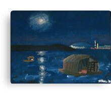 Belgrade Moon Over Danube at Night Canvas Print