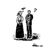 Nikola Tesla and Lady Photographic Print